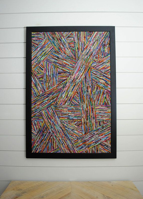 Modern art in a black frame – woven depth – made from recycled magazines, lines, art, diagonal, colorful, unique, handmade, texture, detail – Claudia Ehmann