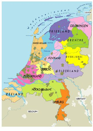 Holland, divided in county 's