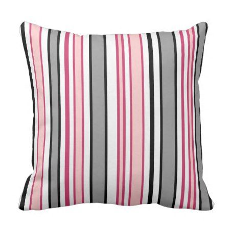 Pink and Black Stripes Throw Pillow - #cushion #throwpillow #pillows #stripes