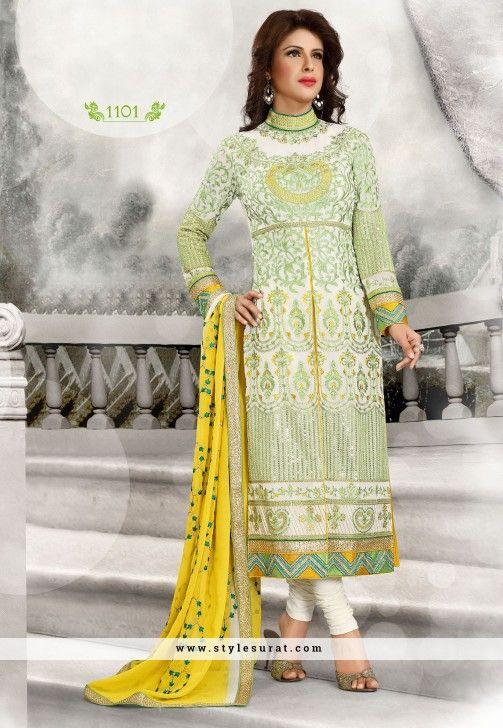 Lace Border Work Georgette Designer Churidar Salwar Suit