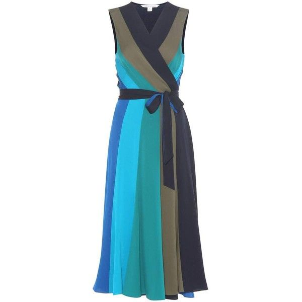 Diane von Furstenberg Penelope Stretch-Silk Wrap Dress ($525) ❤ liked on Polyvore featuring dresses, multicoloured, blue wrap dress, blue dress, colorful dresses, multi print dress and diane von furstenberg