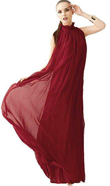 ERGEOB Damen Sommer Kleid Elegante Cocktail Party Floral Kleider Maxi  ärmellosen Chiffon Abendkleid Strandkleid - Sommer Hose… c6d17851a2