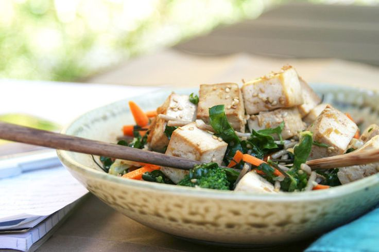 Citrus Ginger Tofu Salad with Buckwheat Soba Noodles, use marinade fro chicken and grill chicken in lieu of tofu