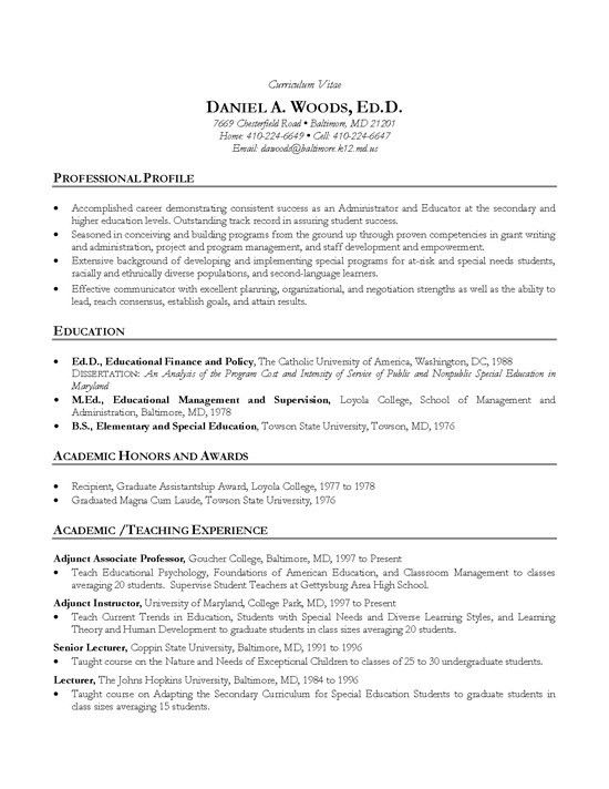 sample resume for assistant professor Academic CV Example - Teacher
