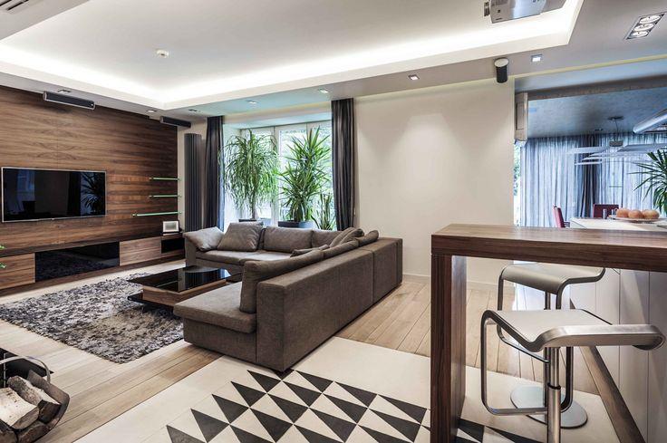 Idea soggiorno moderno con l'elemento dominante il legno. Pavimento in legno così come il rivestimento della parete centrale. Soffitto in cartongesso con illuminazione diffusa perimetrale