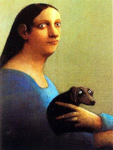 Is it my imagination, or does this poor dachshund look terrified?  Can't say as I blame her...