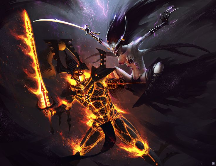 Warhammer 40,000: Avatar vs. Keeper of Secrets by *NicholasKay on deviantART
