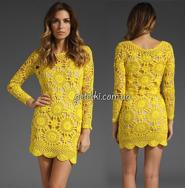 Вяжем платье от Eternal Sunshine Creations крючком. Схемы, описание, МК соединения мотивов