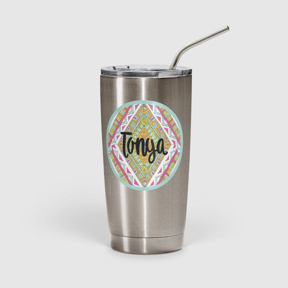 Gift for teen girl Personalized tribal tumbler by ToGildTheLily