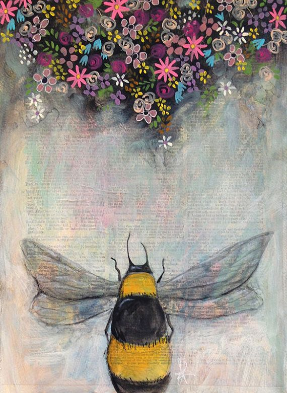 ORIGINAL bumble bee mixed media collage / painting Spring Bee on 9 x 12 acid free, heavyweight watercolor paper.