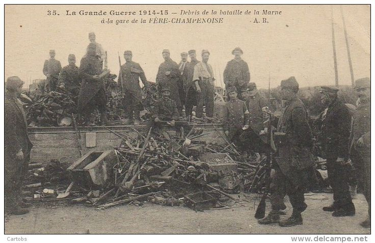 WWI; Debris from the Battle of the Marne at the station of Fere-Champenoise.