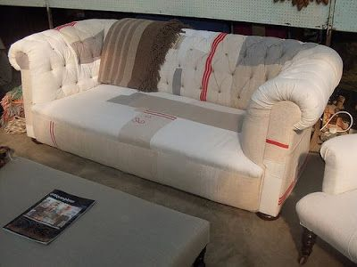 Chesterfield Sofa Upholstered In A Tapestry Of Hand Dyed And Linen Fabrics    SOLD