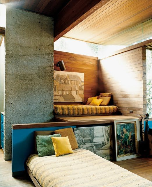 blue, yellow, concrete: varied textures in the light | Ray Kappe (+ the drawing behind the bed)