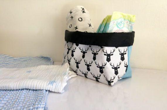 SALE 50% off  Storage basket , Fabric storage bag ,Deer Storage Bin , Home decor , home storage , Decorative storage ,Nursery basket , by starjellyTLV on Etsy