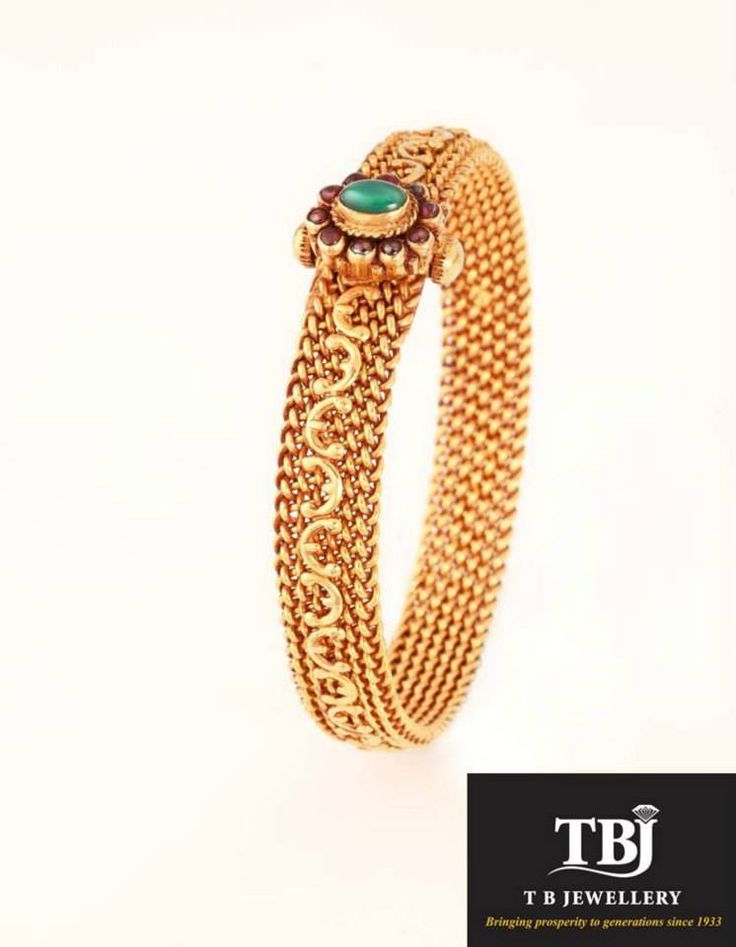 Traditional Antique bangle with Zambian emerald #tbjewellery #Goldenmoments…