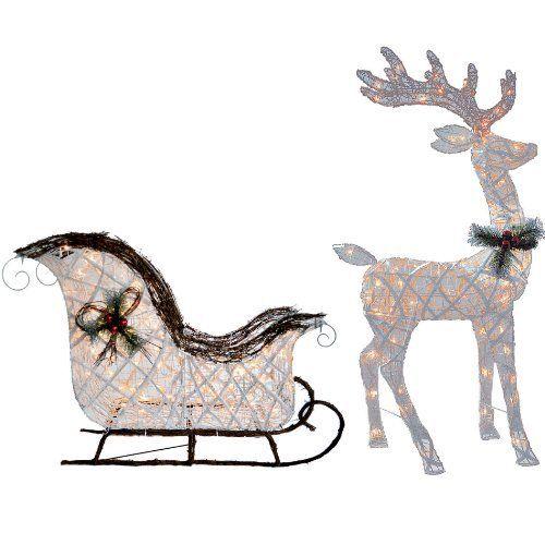 indoor sleigh decoration knlstore 2pc pvc vine lighted 52 reindeer buck deer 40