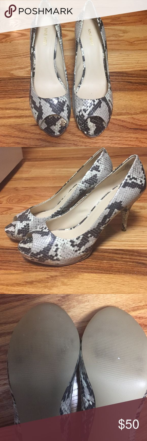 Camya Gray And White, Snakeskin Platforms Practically brand new Nine West Snake Skin peep toe platform heels. One worn twice. Shoes Platforms