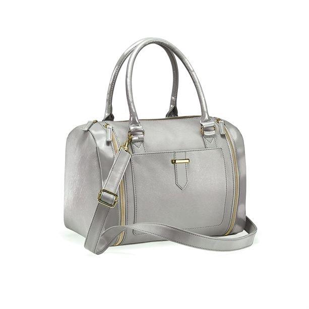 """Az AVON Wenda táska tágas, szürke, """"Saffiano bőr"""" hatású táska dekoratív cipzárokkal."""