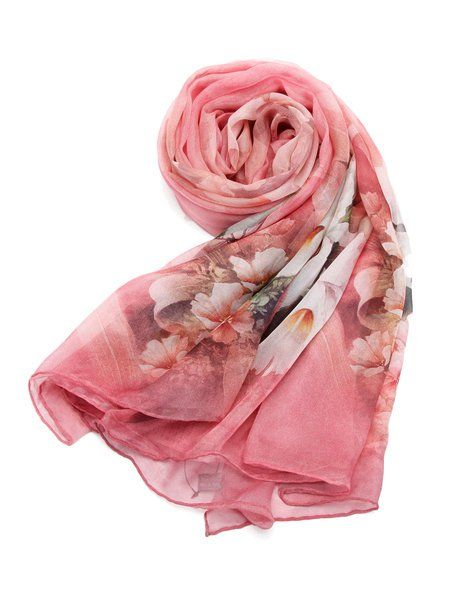 Casual Floral Print Silk Scarf