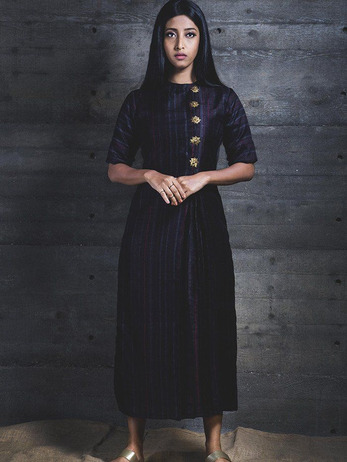 Midnight Pleated Midi Dress