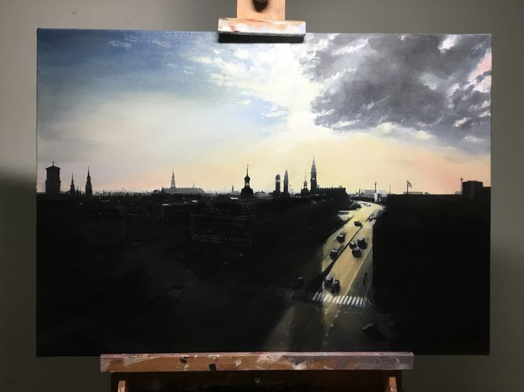 I've finished painted the sun rising over Copenhagen, as seen from the rooftop of my agency, DIS/PLAY, on Staunings Plads. We're looking east along H.C Andersens Boulevard. Oil on canvas, 70 x 50 cm. You can see more of my works at jonaslinell.com. Cheers, Jonas  #painting #oil #canvas #jonas #linell #copenhagen #art #sunrise #towers #sky #sun #københavn #kunst #maleri #olie #lærred #city #skyline  #displayful  #christainsborg #borgen #ourlady #vorfrue #vesterport