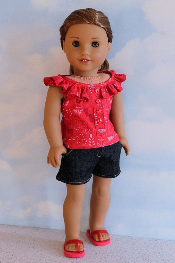 18 Inch Doll like American Girl Red Floral Ruffle Neck