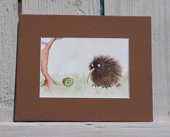 Kiwi Bird & Kiwi Fruit Art Print Cute Kiwi Art by CthulhusCorner, $12.00