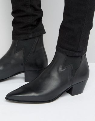 ASOS Cuban Heel Boots In Black Leather With Lightening Detail