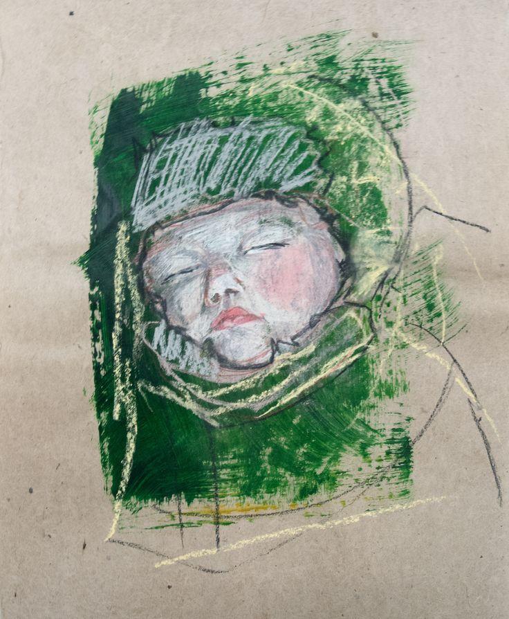 Zosia Noga, Winter baby 3, acrylics, pastel pencils and charcoal on Khadi Lokta and Mitsumata paper, 2015.