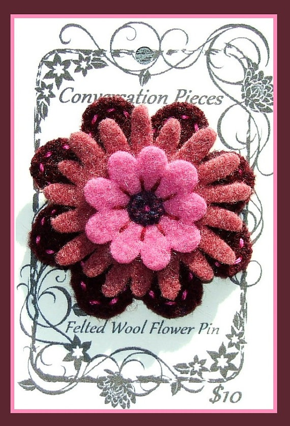 Wool Flower Pin 펠트 꽃 Pinterest 펠트 꽃