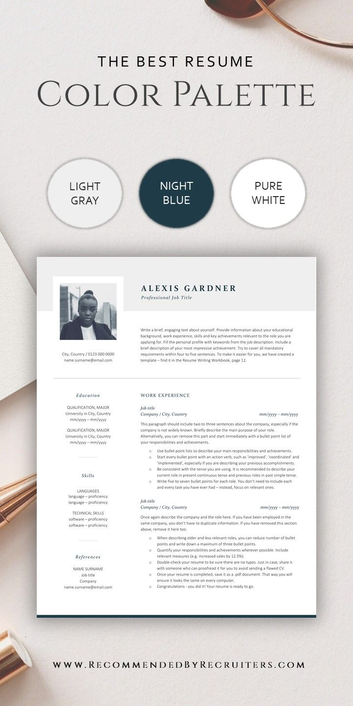 Elegant Resume Template With Photo Instant Download Cv Template