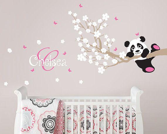 Panda and Cherry Blossom Branch with Custom Name Monogram, Panda Decal, Panda Vinyl Wall Decal for Nursery, Kids, Childrens Room on Etsy, $42.00