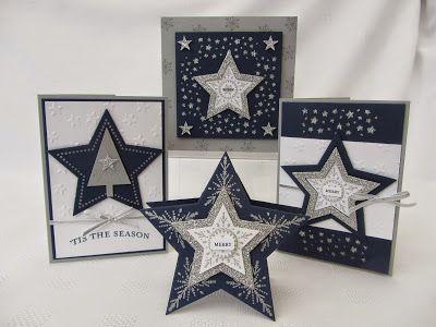 "Many Merry Stars, Stars Framelits, Tree & Confetti Stars border punches, Silver 1/8"" Taffeta Ribbon, Silver Glimmer Paper, Lucky Stars EF"