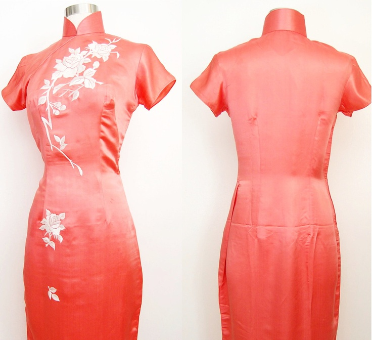 Vintage Cheongsam Coral Silk with Floral Embroidery Size Small / Medium. $62.00, via Etsy.
