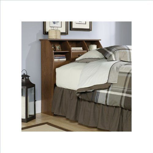 Sauder Shoal Creek Twin Bookcase Headboard in Oiled Oak by Sauder. $94.07. Enclosed back panel has cord access. Two adjustable shelves. Attaches to twin size bed frame. Display area for alarm clock and books. This Sauder bookcase headboard is designed to attach to a twin size bed. The spacious display area on the bookcase is designed for an alarm clock and books. This bookcase headboard also features two adjustable shelves and hidden storage behind a flip-up drawer front.  The ...