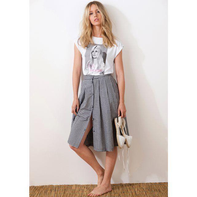 Długa spódnica z tkaniny z nadrukiem - Vichy