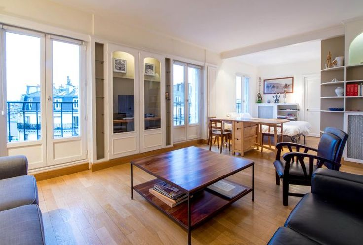 On the 6th floor, great views, with elevator. Approx EUR160 per night. Available. Spacious (60 sqm). Good reviews. Apart Inn Paris.