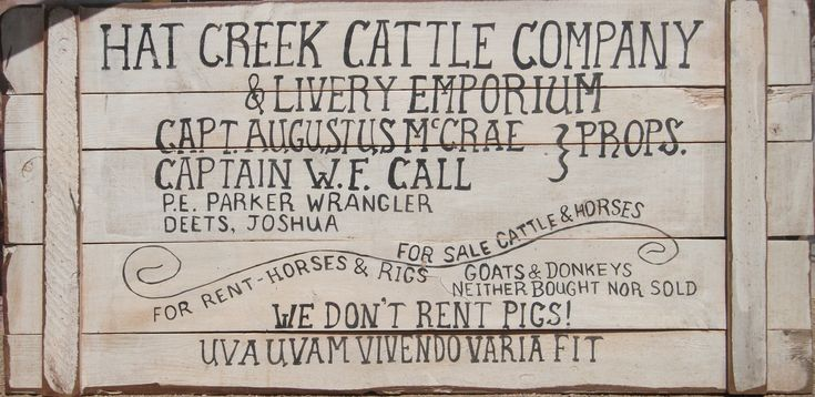 "Hat Creek Cattle Co. "" WE DON'T RENT PIG!"""
