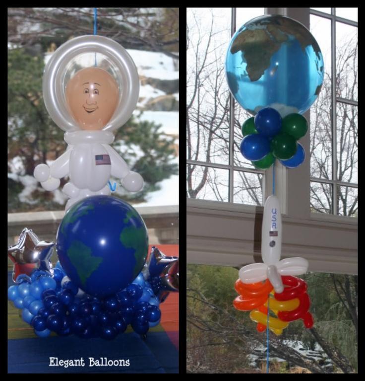 Globe Balloon Centerpiece : Space themed party balloon astronaut and spaceship