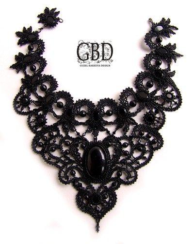 Black filigree look collar necklace - Guzel Bakeeva Design