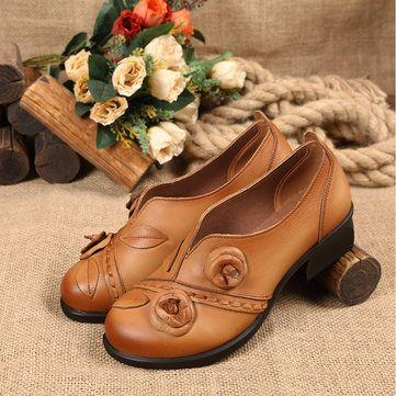 SOCOFY Flower Retro Mid Heel Original Folkways Handmade Shoes