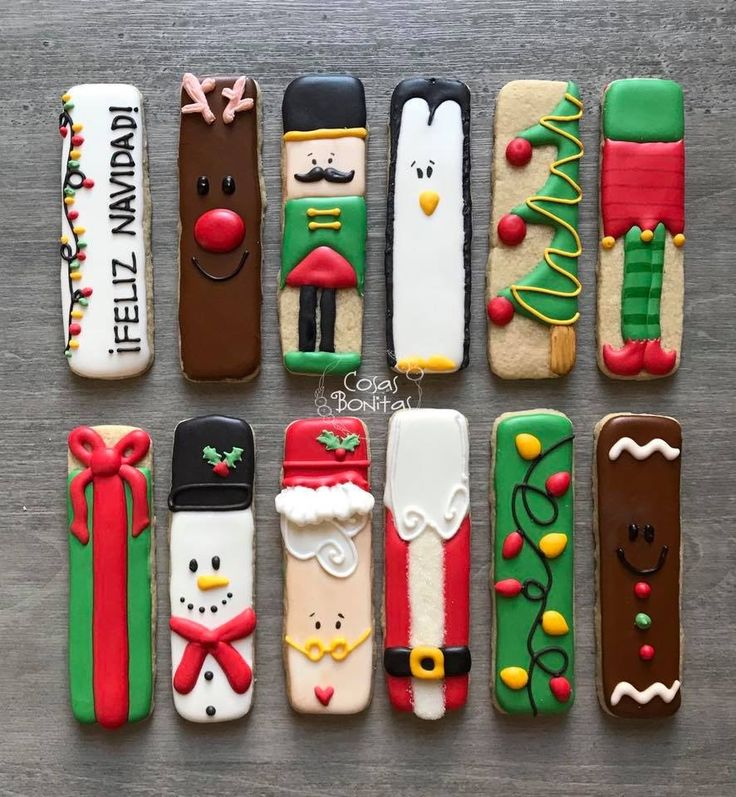 Cookie sticks, rolled cookies, cutout cookies, hand decorated Christmas cookies, royal icing, reindeer, nutcracker, penguin, elf, presents, snowman, Santa, Christmas tree, gingerbread man