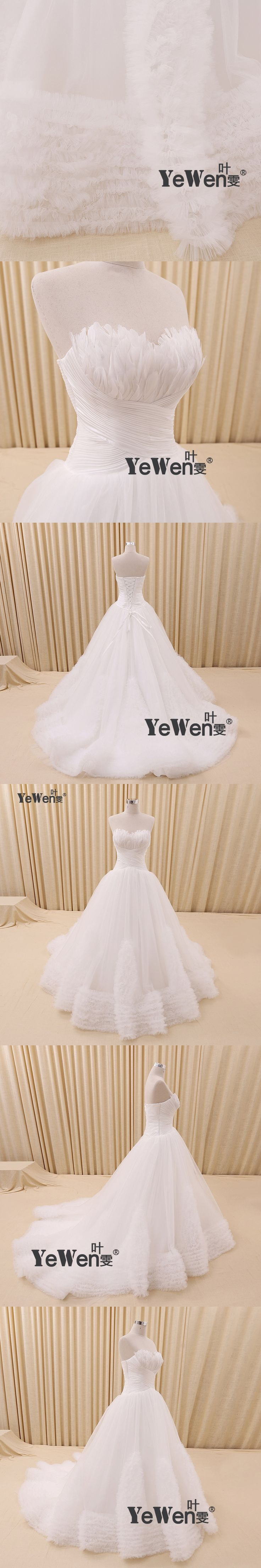 YeWen 60cm/1.5M Luxury Soft tulle hand made Feather Sweetheart Beads Crystal A Line Sweep Train custom size Wedding Dresses 2016