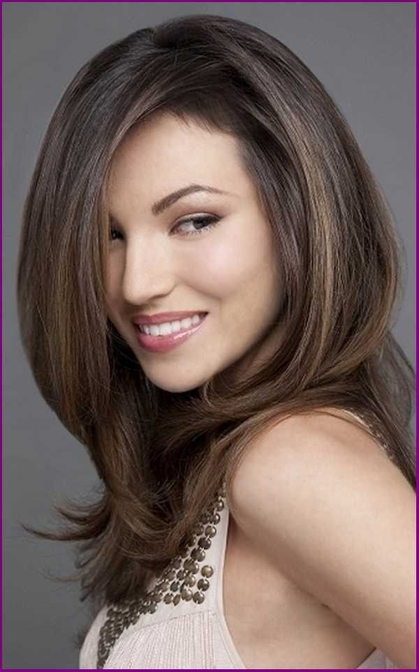 Long Thick Haircuts With Layers For Round Faces