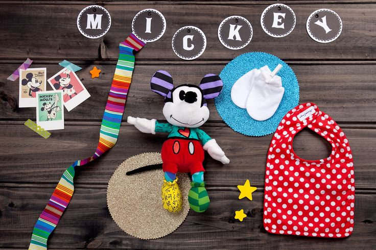 Mickey's Magic available now at thespecialdeliverycompany.com.au Disney by Britto Small (24cm) Plush Mickey Mouse featuring 12 different fabrics. (Safe for ages 0 and up.) Alimrose Designs Red & white Polka Dots bib, and Marquise white mittens