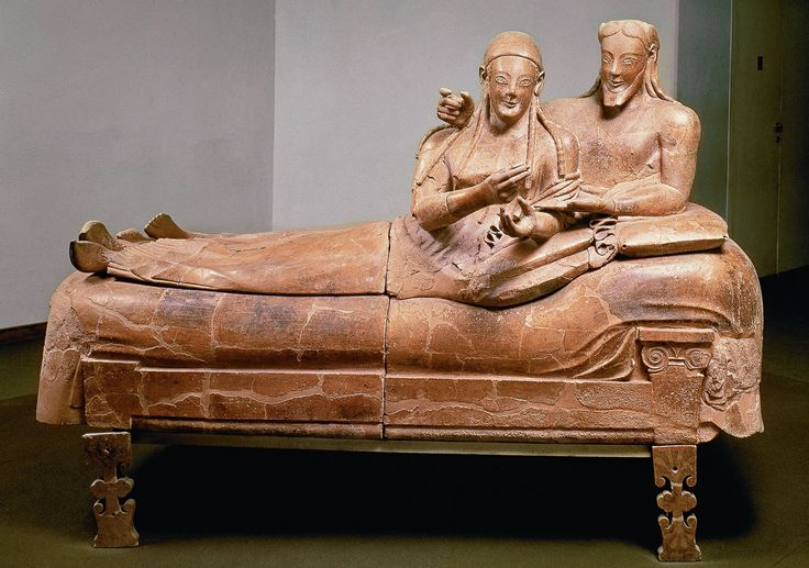 Ancient Etruscan Sarcophagus of the Spouses, late 6th century BC, made of terracotta which was once brightly painted, currently located at the National Etruscan Museum, Rome.