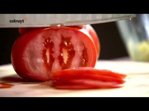 ▶ Recept Carpaccio van tomaat met garnaal-avocadosalsa - Colruyt - YouTube