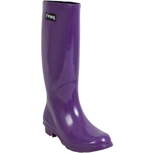 Roma Women's Emma Knee High Rain Boot ($70) ❤ liked on Polyvore featuring shoes, boots, purple, rubber boots, knee length boots, wellington boots, wellies shoes and knee high rubber boots