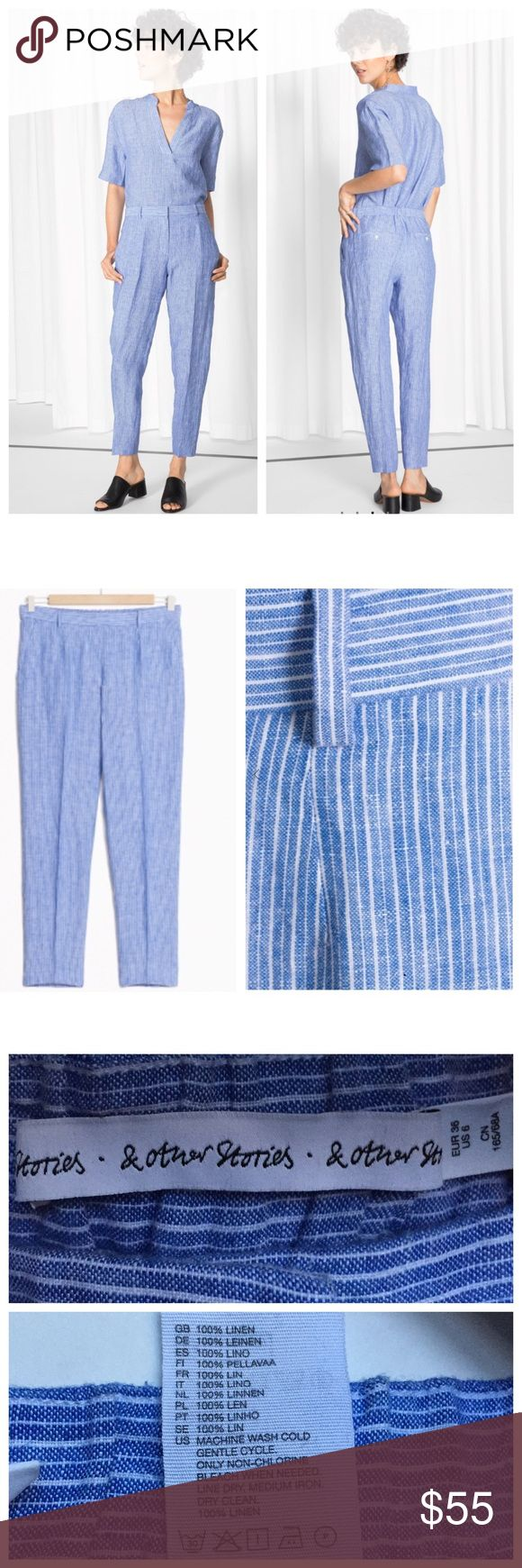 """30% OFF BUNDLES & other stories Stripe Pants EUC & other stories is the coolest """"it girl"""" brand from NYC. These pants instantly SOLD OUT online and in stores. Waist:14"""" Inseam:15"""" Total Length:25"""" All measurements are taken with the item laid flat.  EUC (Excellent Used Condition) Fitted hips, anke length. If between sizes, go 1 size up. Material: see photos 30% off on bundles // I ship same-day from pet/smoke-free home. Buy with confidence. I am a top seller with close to 500 5-star ratings…"""