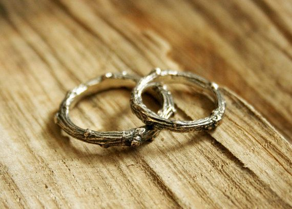 Silver Twig Wedding Rings: Rustic Wedding by CuriousMagpieDesigns